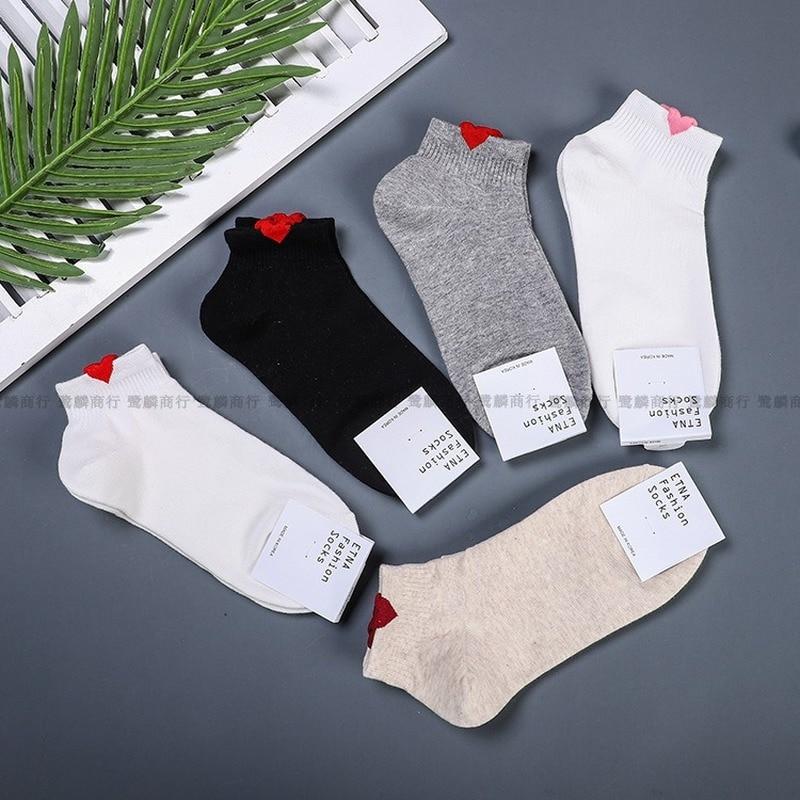 Korean Sweet Woman Sock Ladies Thin Socks Heart For Women White Black Happy Short Sox Female Cotton Classic Cute Summer Sokken