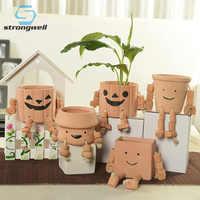 Strongwell-maceta Robot de cerámica con dibujos animados para niños, minimaceta de cerámica para mesa, maceta suculenta para decoración del hogar
