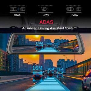 Image 4 - WHEXUNE 4G Видеорегистраторы для автомобилей с сенсорным экраном на Android ADAS Даш Cam Автомобильная камера заднего вида зеркало 10 дюймов тире Камера Двойной объектив GPS навигации рекордер Wifi