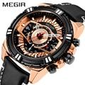 Новые часы Для мужчин Элитный бренд MEGIR Для мужчин спортивные часы Водонепроницаемый кожа кварцевые Для мужчин  мужские часы Relogio Masculino