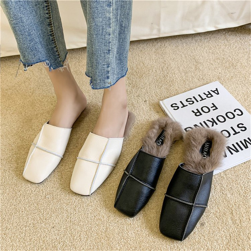 Women/'s Square Toe Genuine Rabbit Fur Leather Mules Sandals Flats Slippers Shoes