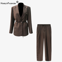 HarleyFashion Women Trendy Stylish High Street Pants Suit Vintage Blazer Loose Pants Solid Quality Stunning Twin Sets with Belt
