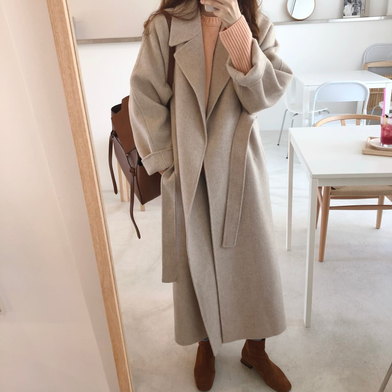 Spring Autumn Winter New Women s Casual Wool Blend Trench Coat Oversize Long Coat with belt