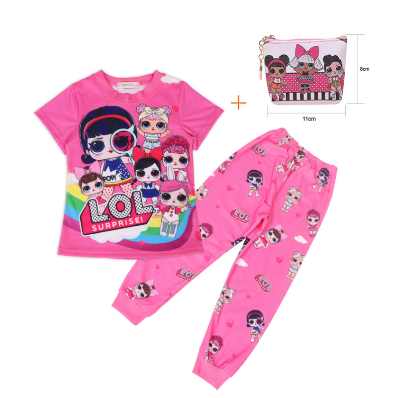 New Surprise Children LOl Short-sleeved Girls T-shirt Suit Doll Cartoon Baby Pajamas Two-piece + Bag