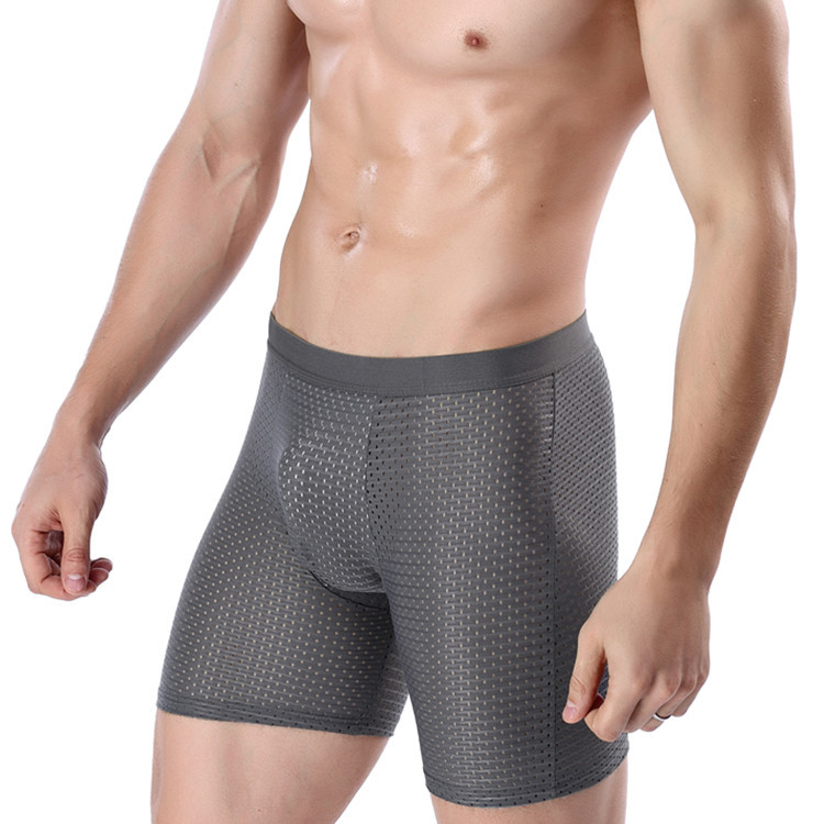 Mens Shorts Underwear Ice-Silk Brief Long Breathable Mesh Comfort Cool Leg Viscose Pants