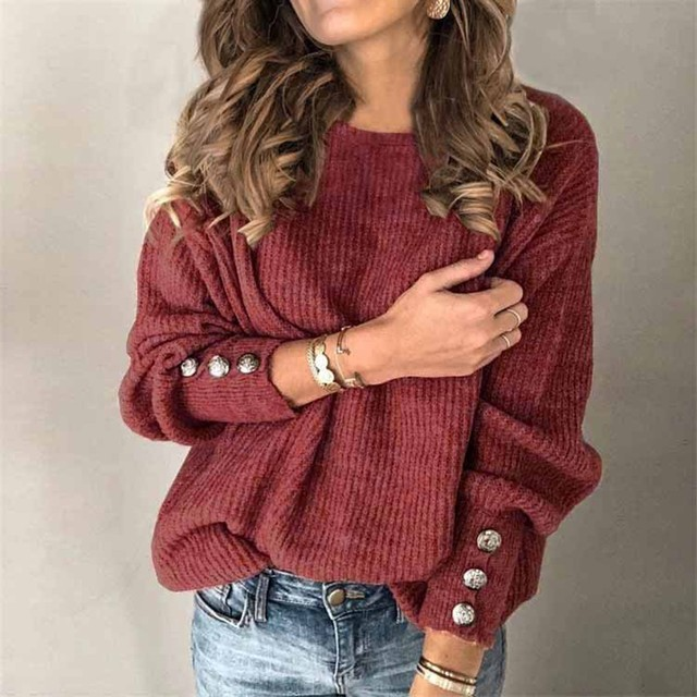 #53 Women's Fashion Solid Color Pullover Round Neck Warm Long Sleeve Sweater Fashion Simple And Elegant Mujer Suéteres 1