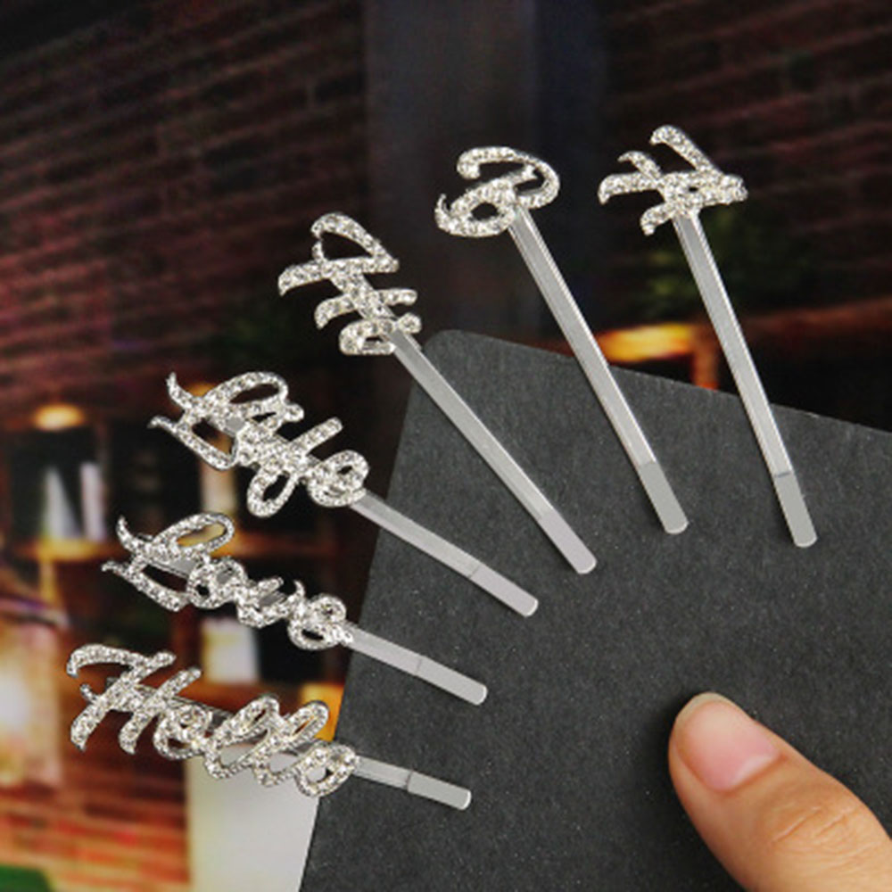 New Shiny Crystal Hairpins Rhinestones Word Letters Hair Clips For Women Girls Styling Tool Hairgrip Hairband Hair Accessories