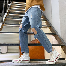 Men Stretch Pockets Jeans Casual Destroyed Ripped Fashion Design Straight Ankle Zipper Ankle Length Jeans Plus Size distressing ankle jeans