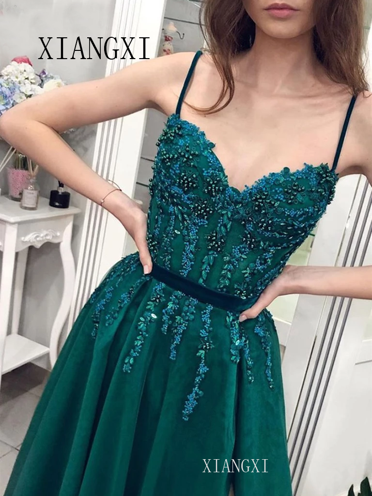 2020 Spaghetti Straps Formal Party Dress Sweetheart Neck Beaded Lace Teal Green Prom Dresses Long Sexy Leg Slit Evening Gowns