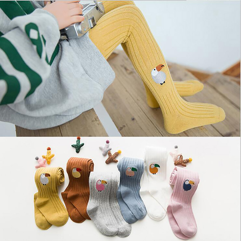 2021 Korean Version High QualityChildren's Cute Pantyhose 2021 Spring New Girl Parrot Embroidery Cotton Thread Wild Socks Panty