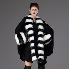 Women Party Overcoat Cloak Coat High Quality Long Winter Imitation Fox Fur Collar Knitted Cardigan Cape Cashmere Poncho Shawl sc65 2018 high autumn winter women long black cardigan fake fox fur collar cashmere sweaters shawl knitted cardigan poncho cape