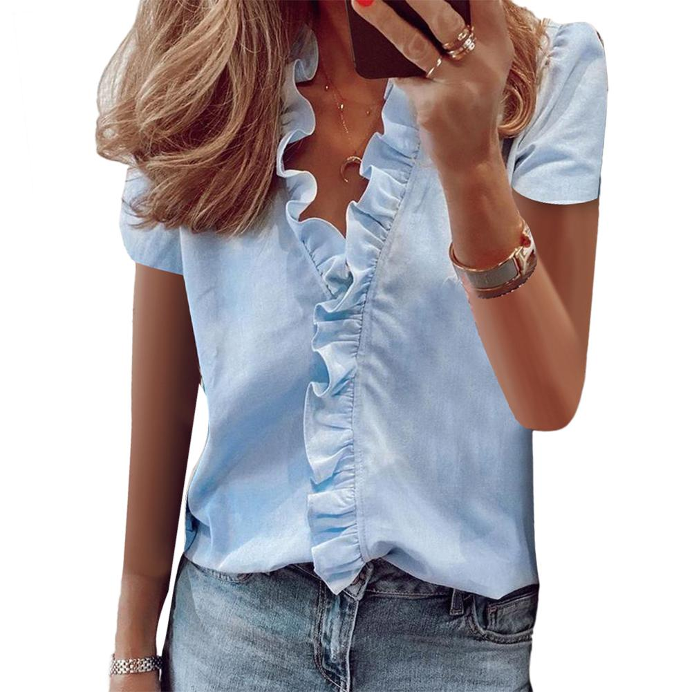 Hot Women Blouses Selling Button Solid 2020 Summer Long Sleeve Shirt Female Chiffon Women's Slim Clothing Ruffled Hem Blouse Top