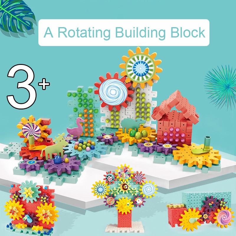 168-368pcs Creative DIY Gear Building Block Toys Set for Children Learning Education Rotating Gear Assembly Model Bricks