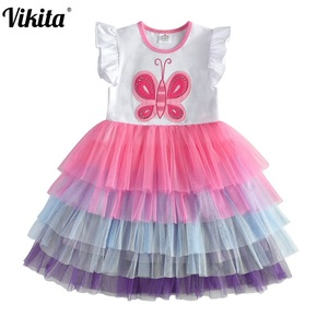 VIKITA Kids Summer Dress for Girls Tollders Princess Dress Girls Butterfly Tutu Dresses Children Birthday Party Layered Dresses(China)