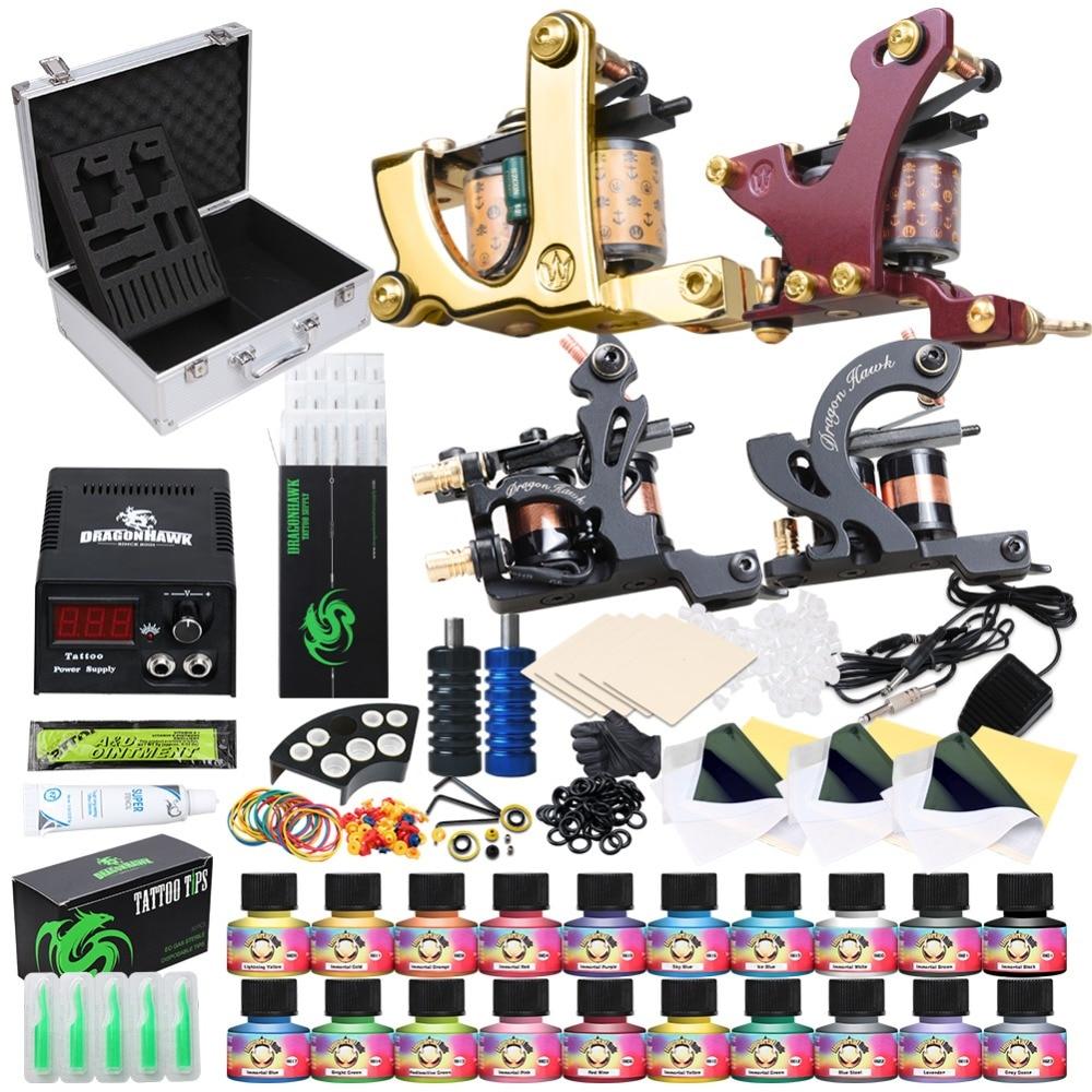 Beginner Complete Tattoo Kit Supplies 4 Machine Guns 20 USA color Inks Power supply Needles Grip Tip Set in Box