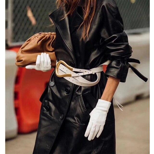 Cosmicchic cinturones de cuero de alta calidad para mujer, hebilla metálica Irregular, Gran semana de la moda, cinturón de cintura doble de diseñador a la moda