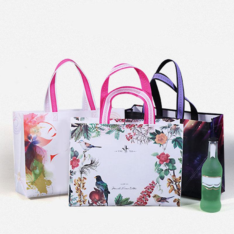 New Waterproof Shopping Bag Reusable Tote Pouch Folding Travel Shopper Bag Reusable Fabric Non-Woven Eco Shopping Bags