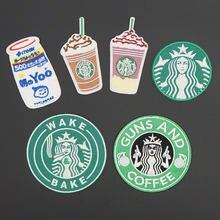 Café das bebidas dos desenhos animados bordado ferro no remendo de apoio adesivo distintivo na roupa do saco