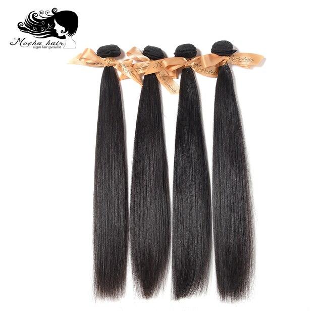 """شعر موكا 100% غير معالج 10A شعر عذراء برازيلي شعر طبيعي مفرود 8 """" 26"""" 4 حزمة تمديد الشعر اللون الطبيعي"""