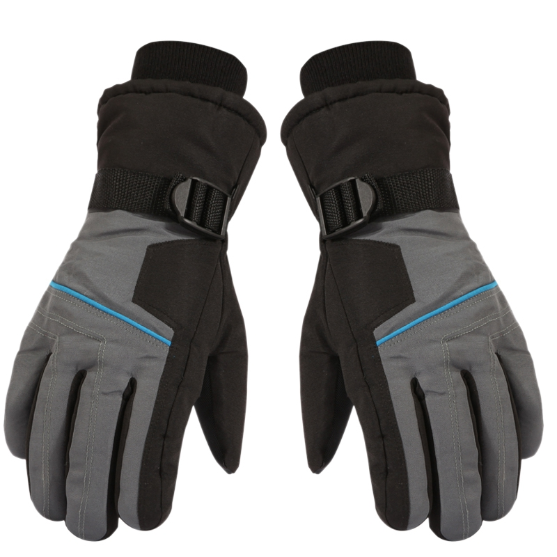 Extra Thick Ski Gloves Winter Snow Outdoor Sport Men Warm Snowmobile Motorcycle Waterproof Snowboard Gray