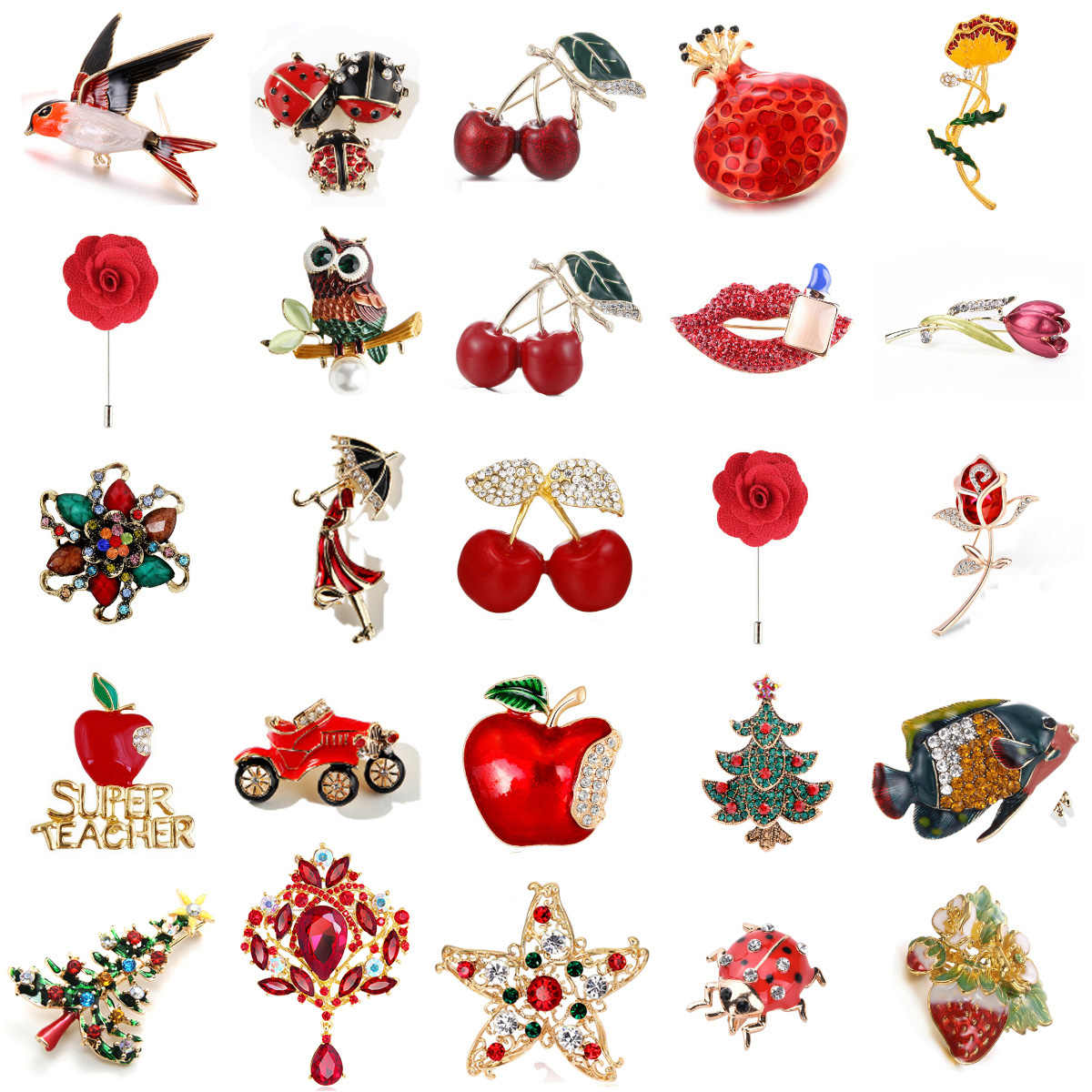 Red Car Squirrel Owl Ladybug Rose Flower Cat Bird Brooch Collar Pins Corsage Animal Badges Jewelry Women Kids Brooches