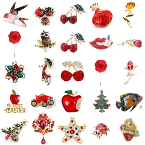 Red Car Squirrel Owl Ladybug Rose Flower Cat Bird Brooch Collar Pins Corsage Animal Badges Jewelry Women Kids Brooches(China)