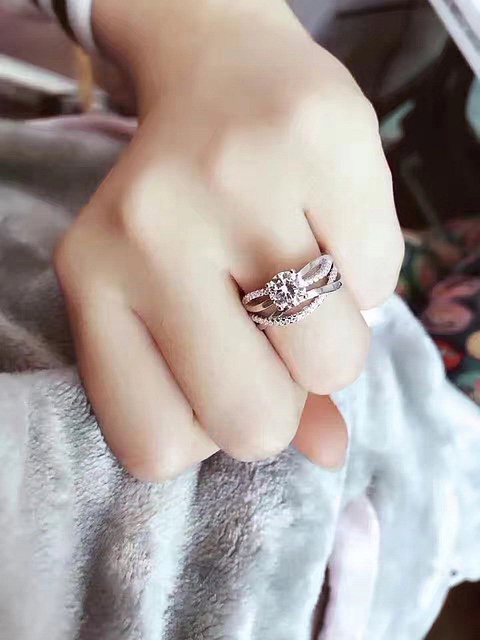 925 Silver AAA Zircon Luxury CUrve Intersection Female Crystal Round Stone Ring Engagement Ring Vintage Party Rings For Women 5