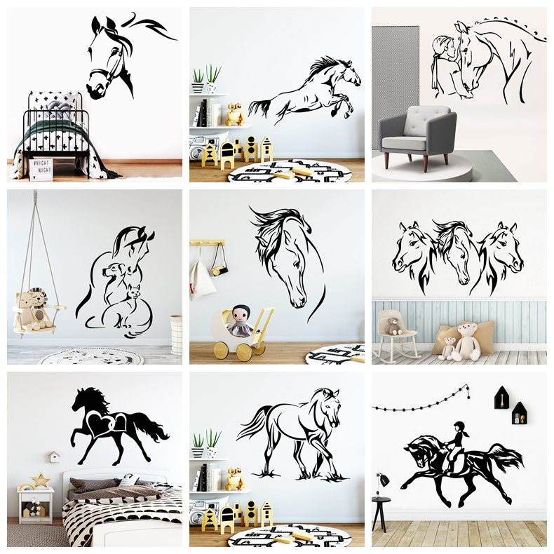 Creative Horse Wall Sticker Wall Decals For Kids Room Living Room Decoration Horse Wallpaper Home Decor