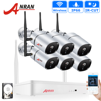 цена на ANRAN 6CH 1080P HD Wireless NVR Kit P2P 1080P Indoor Outdoor IR Night Vision Security 2.0MP IP66 IP Camera WIFI CCTV System