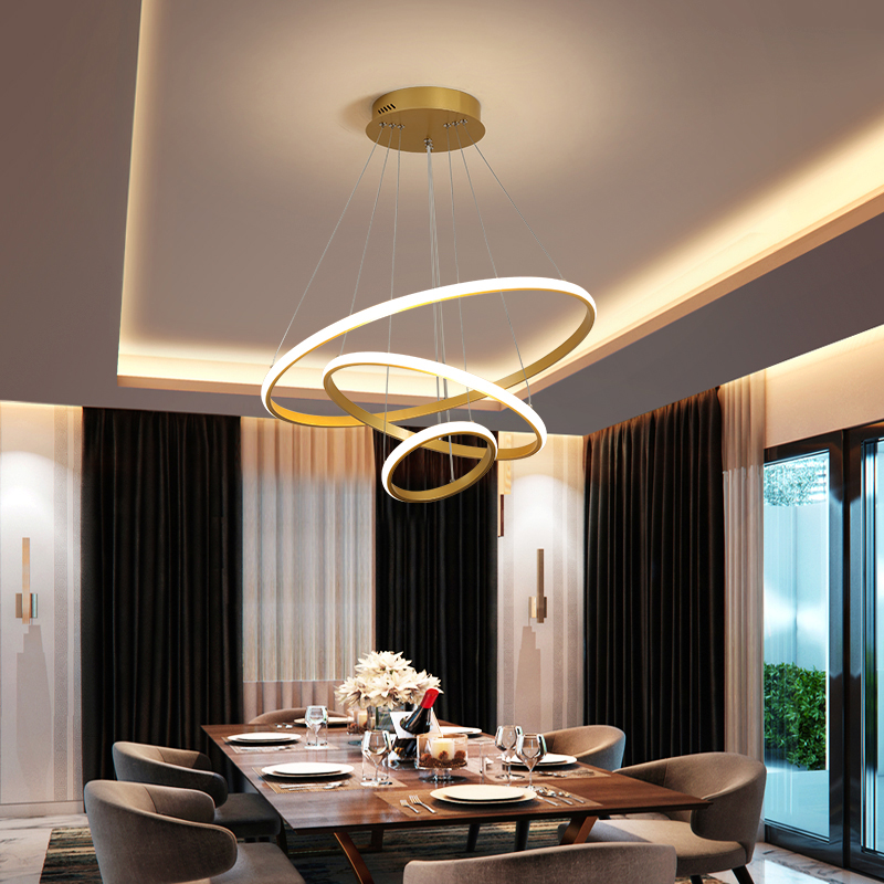 Modern Led Pendant Light For Living Dining Room Kitchen Island Golden Circle Ring Aluminum Ceiling Hanging Lamp Indoor Fixtures