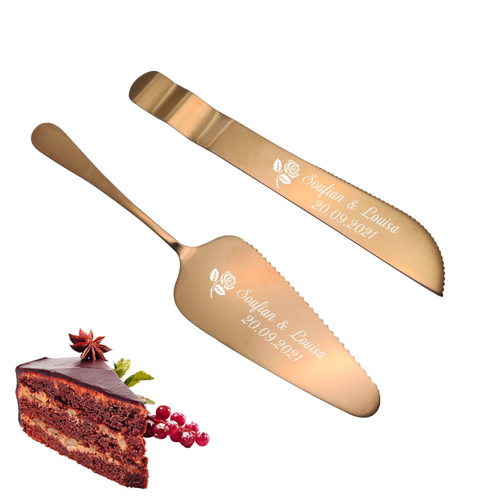 Personalized Pastry Tools Stainless Steel Wedding cake knife set with Name fashion Rose gold Pizza Knife Baking Tool Accessories
