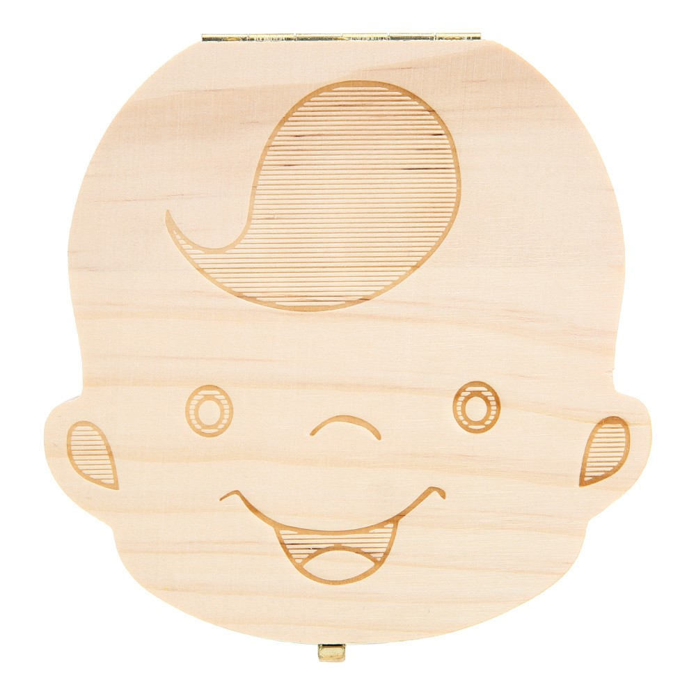 Baby Teeth Lanugo Save Box Wooden Cute Personality Deciduous Souvenir Box For Long-term Dental Storage