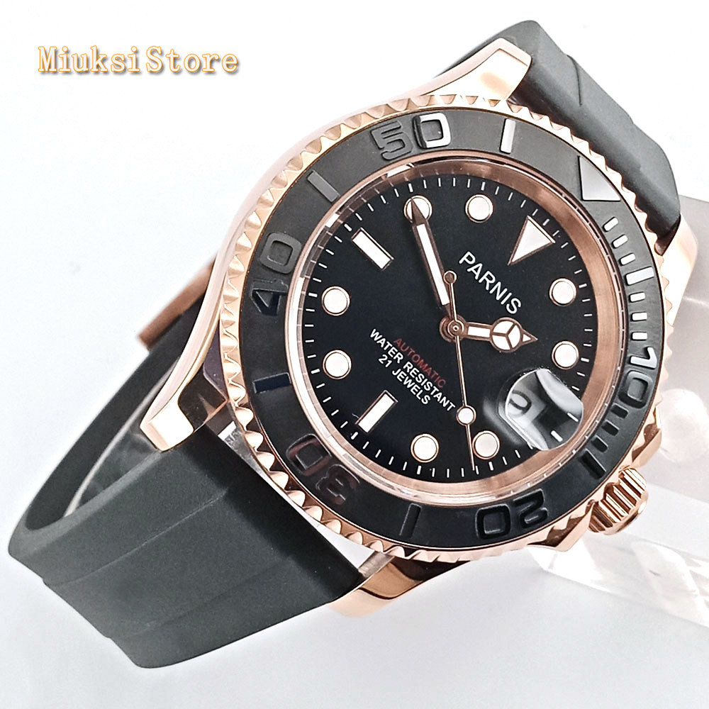 <font><b>Parnis</b></font> <font><b>40mm</b></font> mens top luxury <font><b>watch</b></font> rose gold case sapphire glass ceramic bezel date window rubber strap automatic wristwatch image