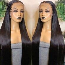 В стиле «Poker Face 28 30 40 дюймов прямые 13x4 Синтетические волосы на кружеве человеческих волос парики предварительно вырезанные бразильские Синт...