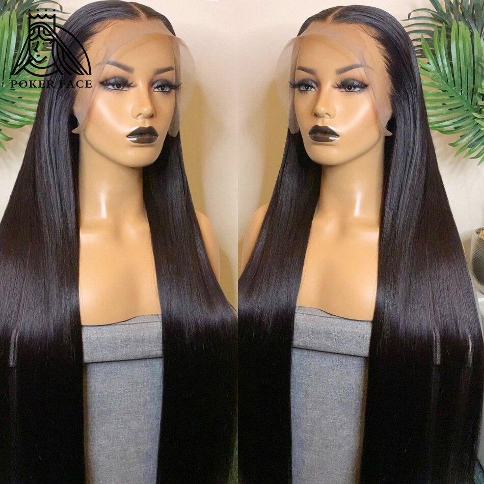 В стиле «Poker Face 30 32 40 дюймов прямые 13x4 Синтетические волосы на кружеве человеческих волос парики предварительно вырезанные бразильские Синт...