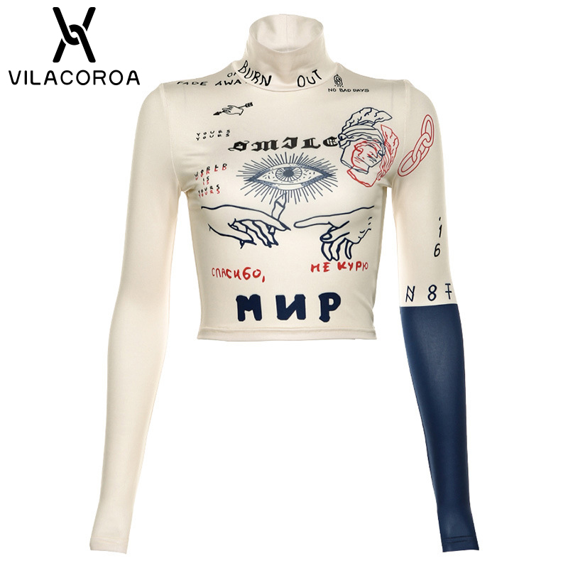 Fashion Print T Shirt Women Sexy Cropped Tops High Neck Long Sleeve Hedging Shirt Ladies Skinny Streetwear Women Sexy T Shirt