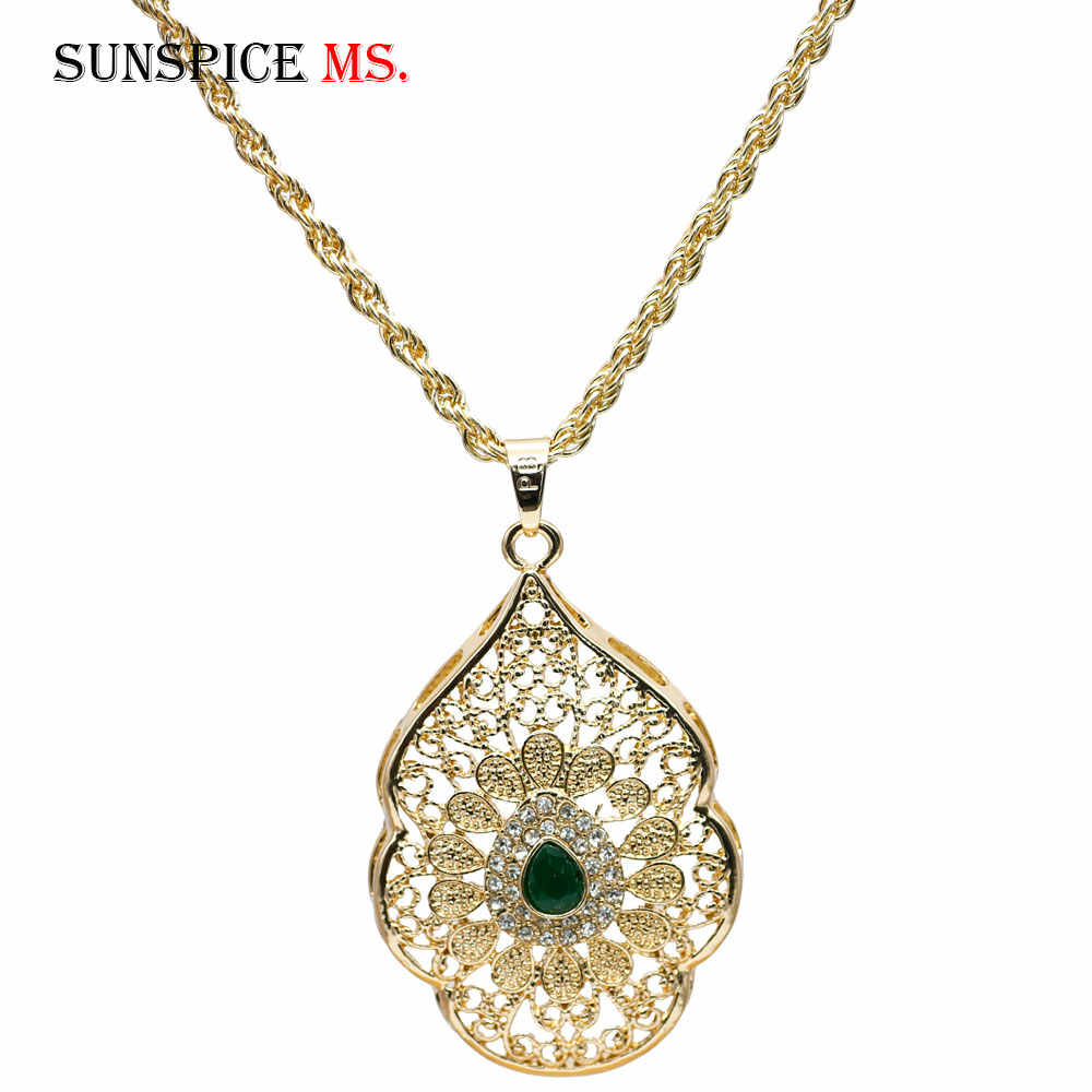SUNSPICE MS Morocco Gold Color Long Pendant Necklace for Women Caftan Flower Bijoux Indian Ethnic Wedding Jewelry Wholesale