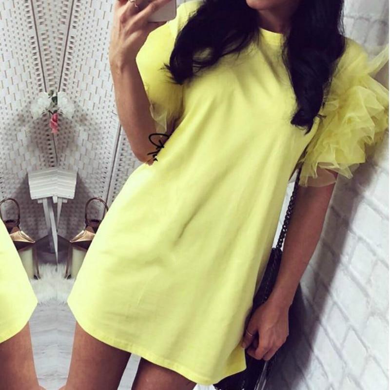 Women Ladies Tulle Frill Puff Short Sleeve Party T- Shirt Dress Summer Casual Slim Club Top Dress 2020 Summer