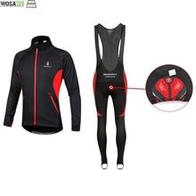 Suit Pants-Set Cycling-Clothes Clothing Jersey Fleece WOSAWE Winter Unisex Bib MTB Long-Sleeve