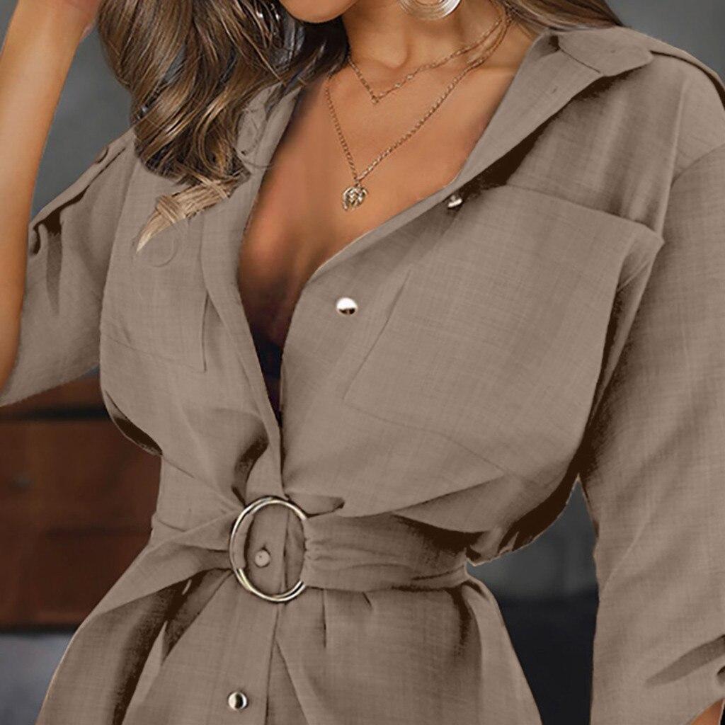 Moda damska Autum wiosna z długim rękawem długie koszule Casual OL panie skrzydła pas kołnierz na dół praca prosta bluzka topy Blusa