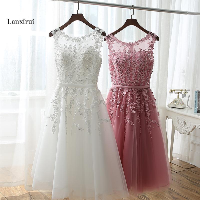 Robes de soirée 2019 appliques perles femmes robe de bal formelle courte robe blanche