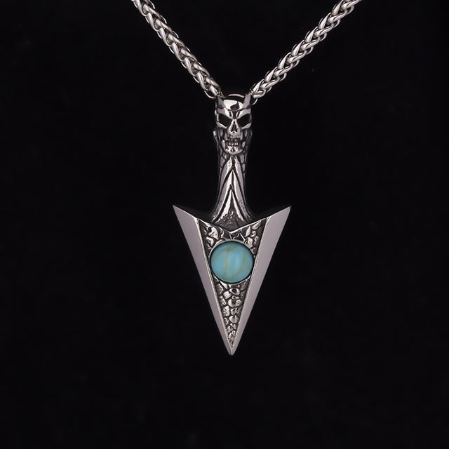 STAINLESS STEEL SKULL ARROW NECKLACE