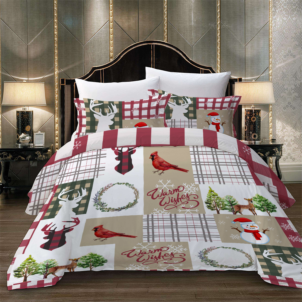 Christmas Series Printed Bed Linens Set Queen King Single Double Size Bedding Set For Comforter Santa Claus Duvet Cover Set