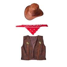 Umorden Kids Child West Cowboy Costume Cowgirl Cosplay Vest Hat Scarf 3pcs set Halloween Purim Party Fantasia Dress up