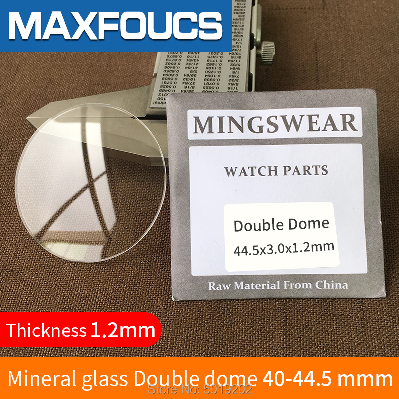 Table Glass Round Smooth Mineral Glass  Double Dome  Thickness 1.2mm, Diameter Of  40 Mm ~ 44.5mm, 1 Pieces