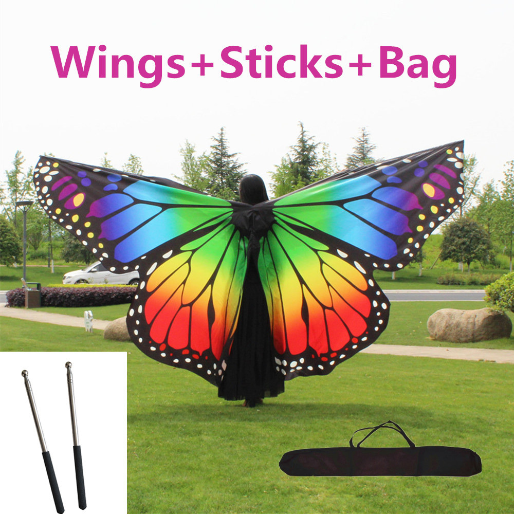 Children Belly Dance Butterfly Wings With Sticks Bag Kids Belly Dancing Costume Women Adult Bellydance Colorful Wings Robs