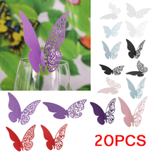 20 pieces/lot Butterfly Laser Cut Paper Place Card / Escort Card / Cup Card/ Wine Glass Card For Wedding Party Decoration