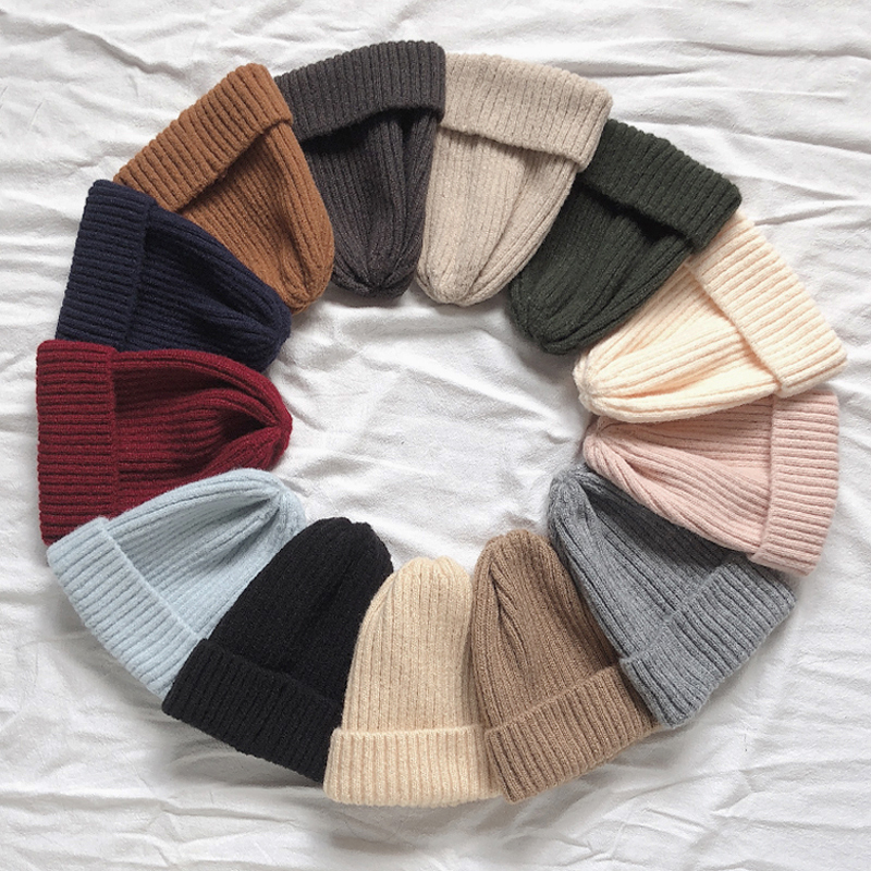 Wool Hat Thickened Warm Vertical Bar Pointed Knitted Hat Women's Winter Hat Children's Winter Hat Women's Knitted Hat Kippah