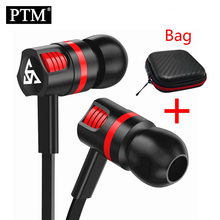 PTM In-ear Earphone Super Bass Stereo Sound Headset Sport Headphones With Mic fo