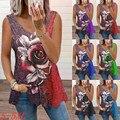 Летнее платье для женщин с v-образным вырезом с цветочным принтом Топ на бретелях повседневные свободные топы с короткими рукавами; Модная У...